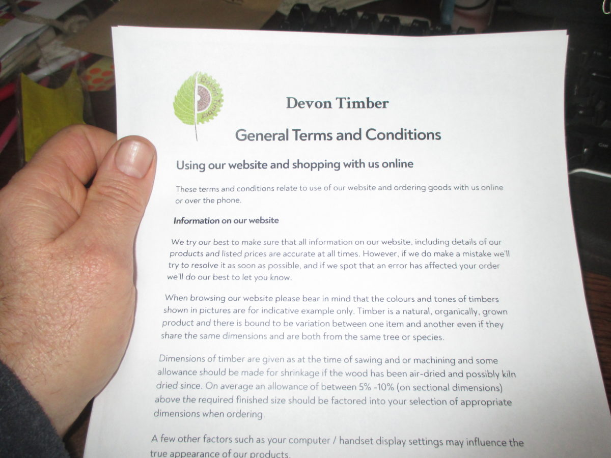 Terms & Conditions Copy in Hand
